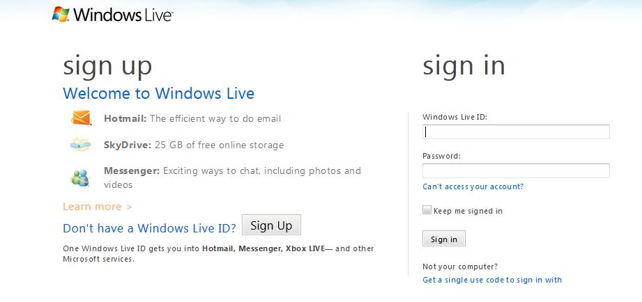 Create a Windows Live ID: